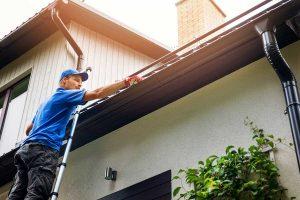 Man on Ladder doing Gutter Maintenance
