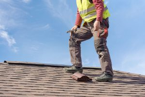 Worker Perfoming Roof Inspection